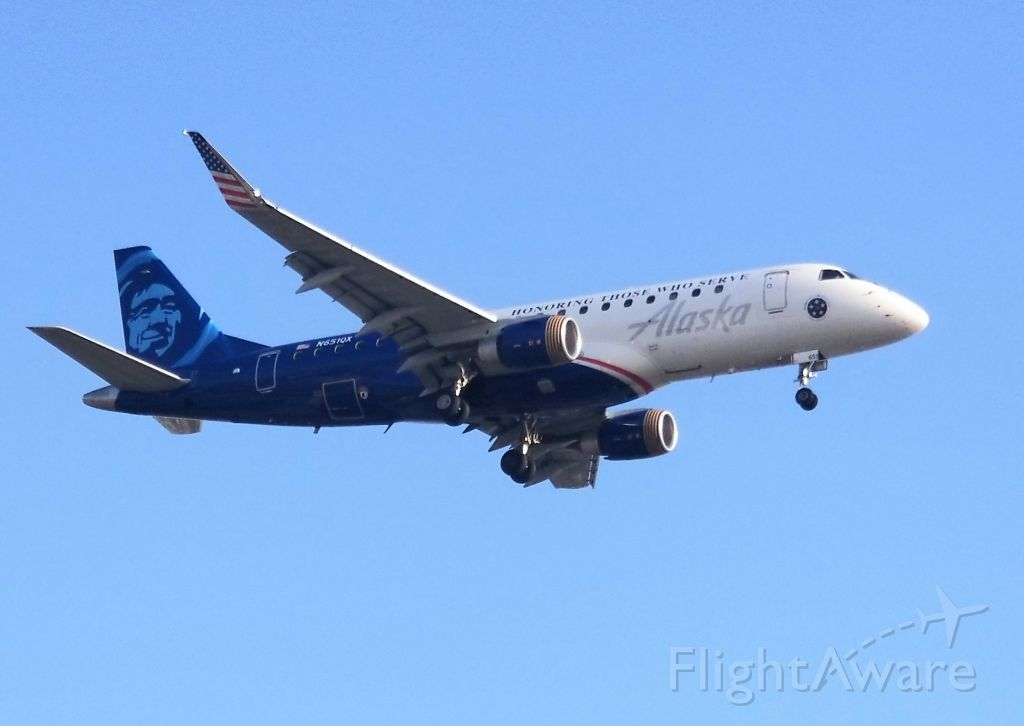 N651QX — - In honor of those who serve. Horizon Air Embraer ERJ-175. Caught landing LAX 24R from PDX.