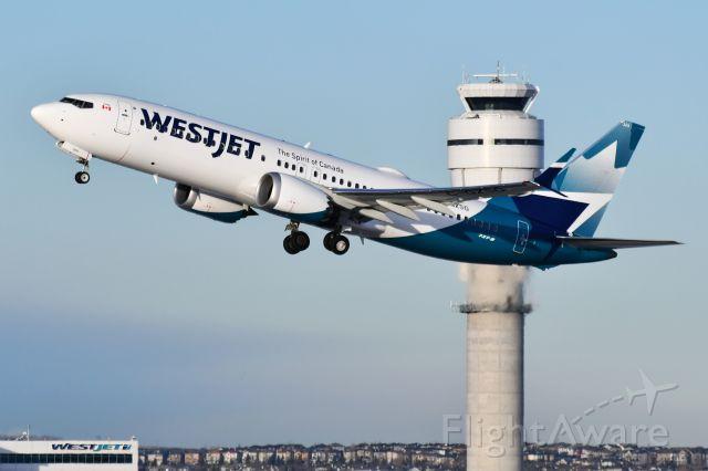 Boeing 737 MAX 8 (C-GZSG) - Westjet Boeing 737 MAX 8 departing YYC on Dec 18.