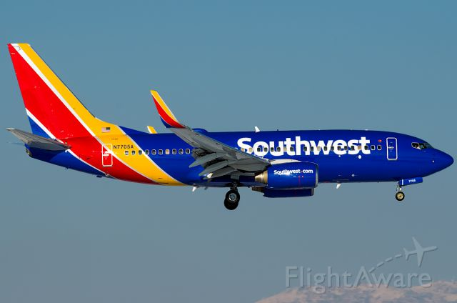 """Boeing 737-700 (N7705A) - New SWA Paint! Ex N169AT.  Full Photo: <a rel=""""nofollow"""" href=""""http://www.airliners.net/photo/Southwest-Airlines/Boeing-737-76N/2544433/L/&sid=bad081991e258203184dc8884db9920a"""">http://www.airliners.net/photo/Southwest-Airlines/Boeing-737-76N/2544433/L/&sid=bad081991e258203184dc8884db9920a</a>"""