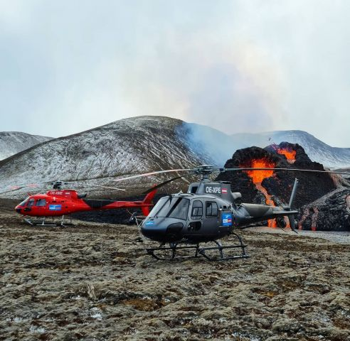 OE-XPE — - Image from Heli Austria Iceland Facebook page. Taken at the Geldingadalir volcanic eruption in Iceland.