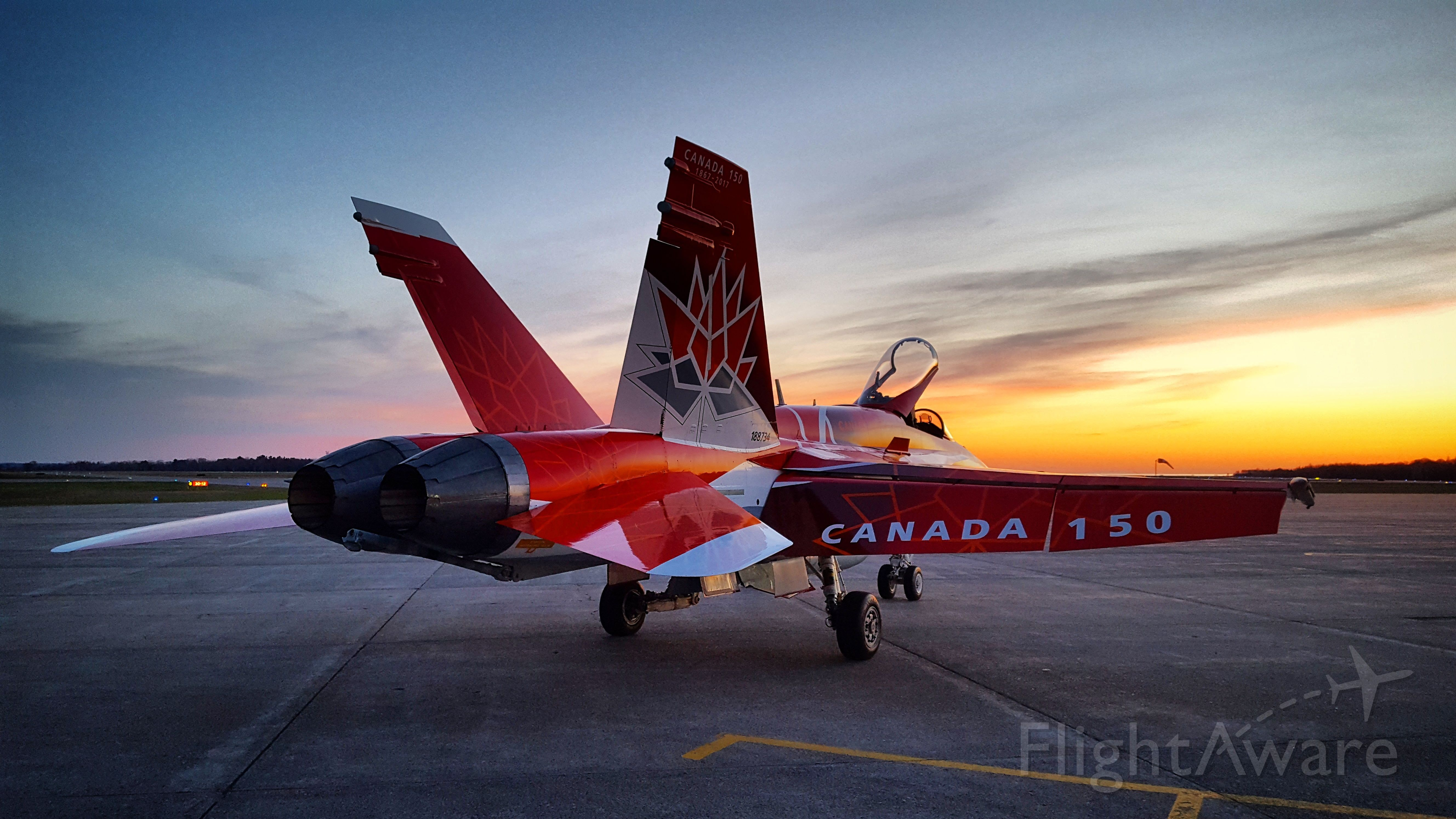 McDonnell Douglas FA-18 Hornet (18-8734) - CF-18 Hornet at sunset, painted to celebrate Canadas 150th Birthday