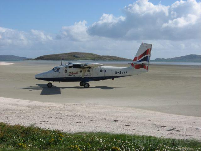De Havilland Canada Twin Otter (G-BVVK) - Twin Otter at the gate Barra airport Scotland