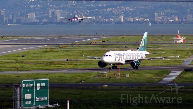 Airbus A319 (N905FR) - KSFO - Frontier A319 holding short for landing traffic on 19R