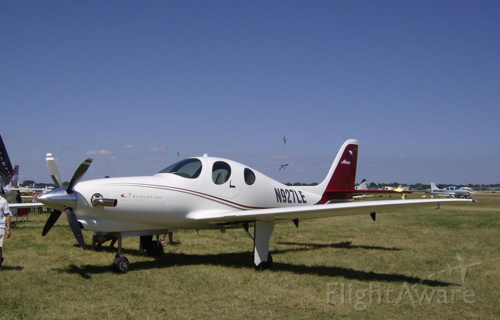 Experimental  (N927LE) - LANCAIR EVOLUTION TURBOPROP--Newest Four seat member of the Lancair family on display at Oshkosh, WI in 2008.....   Update:  24 August 2011 .... Saw this Lancair again here at CYYR as Pete was returning from Moscow Airshow (Russia) display.