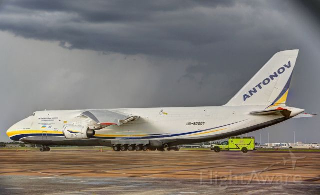 Antonov An-124 Ruslan (UR-82007) - All buttoned up for the severe thunder storm that is just about to hit.