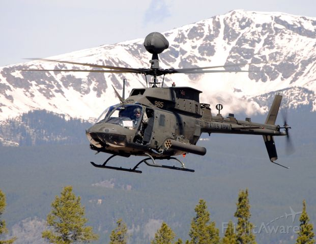— — - Number two in a flight of two OH-58 Kiowa helicopters that arrived for high altitude flight training from Ft. Carson in Colorado Springs.