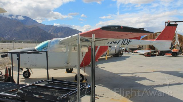 Cessna Super Skymaster (N471DF) - In the restoration area at the Palm Springs Air Museum.