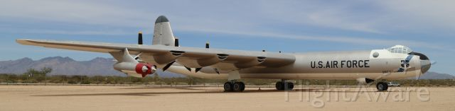 Unknown/Generic Undesignated (52-2827) - Pima Air & Space Museum, Tucson, AZ, 21 Apr 18.  More from their website:<br /><br />Manufacturer: CONVAIR<br />Markings: 95th Bomb Wing, Biggs AFB, El Paso, Texas<br />Designation: B-36J<br />Serial Number: 52-2827<br /><br />CONVAIR B-36J PEACEMAKER<br /><br />The B-36 is the largest bomber and the last piston engine powered bomber produced by the United States. First designed to meet a World War II requirement for a plane capable of hitting targets in Germany from bases in the United States the prototype did not fly until August 8, 1946. The development of the atomic bomb led the Air Force to conclude that it still needed a very long-range bomber capable of delivering the bombs over intercontinental ranges and production of the B-36 was continued despite the end of the war a year earlier. A total of 383 Peacemakers were built between 1947 and 1954. The era of piston engine powered bombers was coming to a quick end with the introduction of the all jet B-47 and B-52. The B-36 was the symbol of American air power in the first years of the Cold War, but even the addition of four jet engines could not bring the B-36 up to the performance standards of the newer aircraft and all of the B-36s were out of service by the first months of 1959.