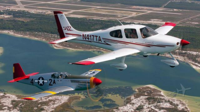 Cirrus SR-22 (N417TA) - Formation flying with Red Tail P-51C in Panama City Florida