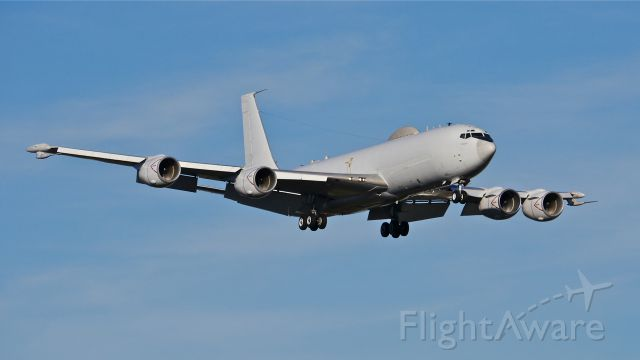 """Boeing E-6 Mercury (16-4386) - """"NAVY 22"""" an E-6B Mercury on final to Rwy 16R for a touch & go landing on 11/21/13. (LN:991 cn 23894). The aircraft is with VQ-4 based at Tinker AFB."""