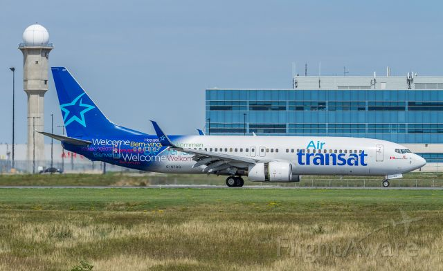 Boeing 737-800 (C-GTQG) - Slowing on runway 15R, this Air Transat 738 arriving from Fort Lauderdale as TSC859
