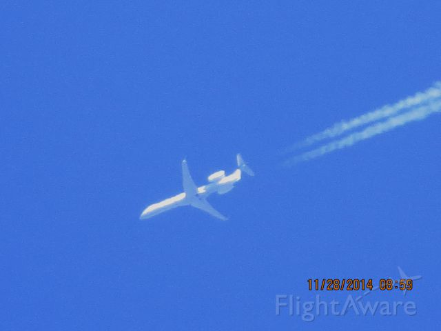 Embraer EMB-145XR (N21130) - Express Jet flight 6077 from TYS to DEN over Southeastern Kansas at 36,000 feet.