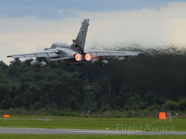 — — - A Panavia Tornado GR4 takes off from Farnborough Airport as part of FIA 2012 aerial display.