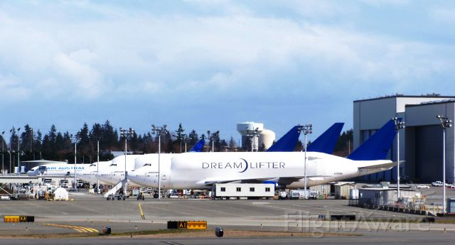 — — - This image is from March 2009 when the first three LCFs were at Boeing's Everett Flightline for the first time. The 4th LCF aircraft joined the fleet at a later date