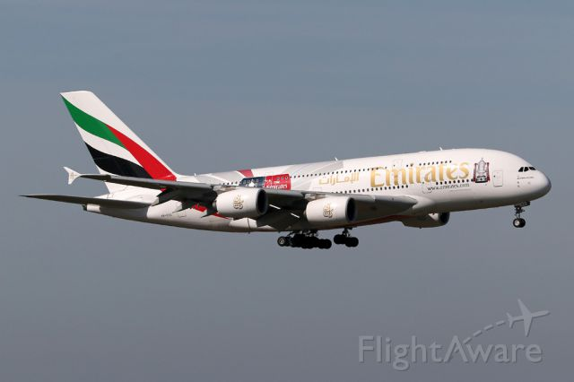 Airbus A380-800 (A6-EES) - The Emirates FA Cup schemed aircraft arrives at Manchester as EK17