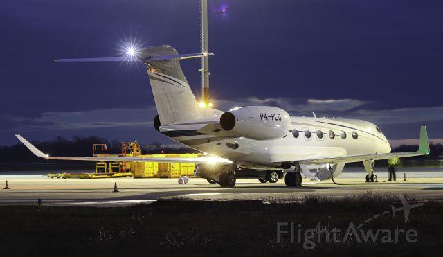 Gulfstream Aerospace Gulfstream G-7 (P4-PLG) - Fuel stop on delivery flight.