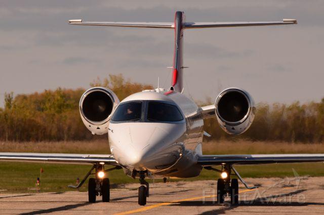 Learjet 45 (N820AT) - Learjet 45XR arriving in Yorkton.