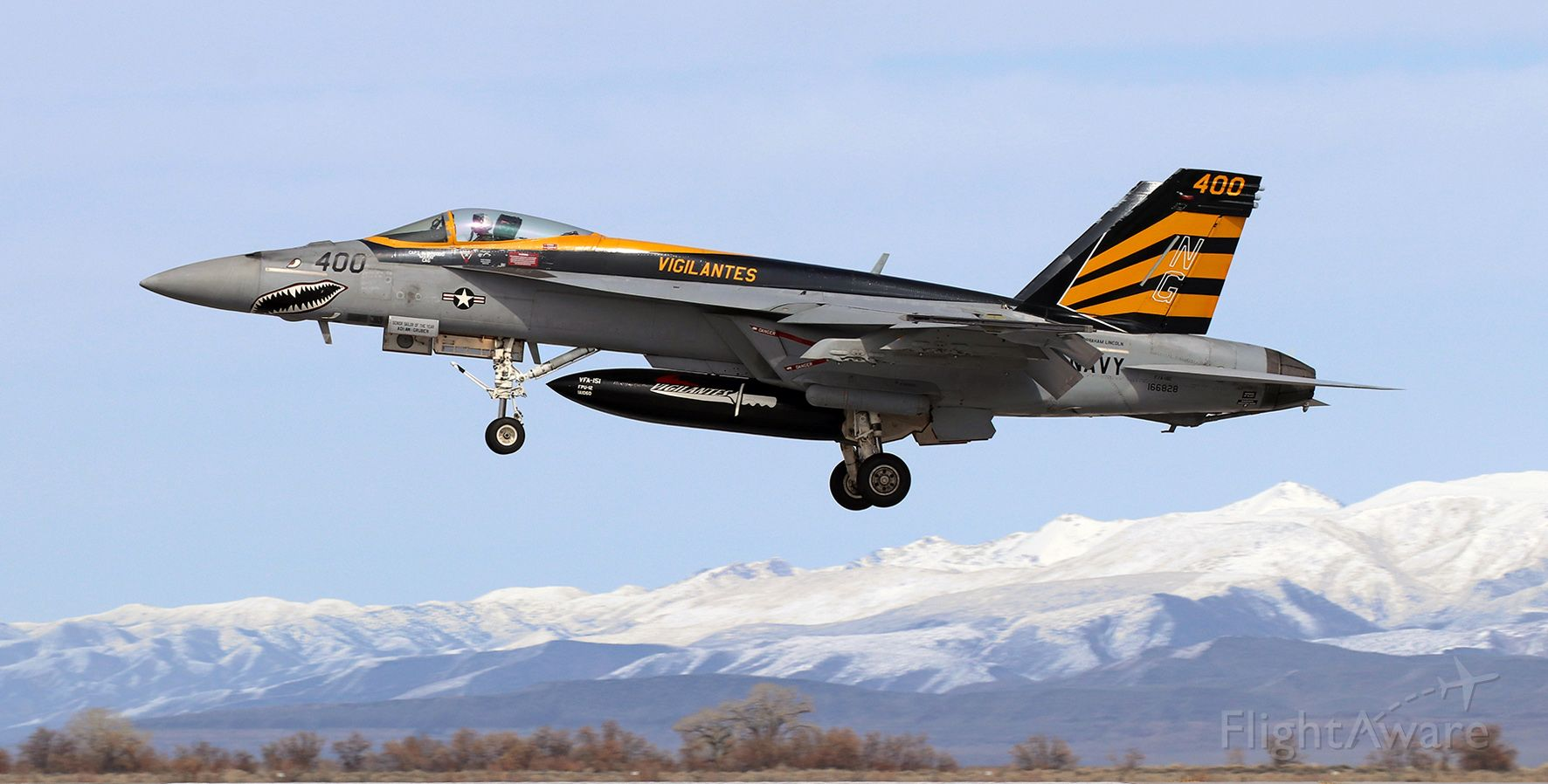 """McDonnell Douglas FA-18 Hornet (16-6828) - United States Navy McDonnell Douglas F/A-18E Super Hornet (166828)<br />VFA 151 (Strike Fighter Squadron One Five One) """"Vigilantes""""<br />Current Home Port: NAS Lemoore; Lemoore, CA<br />Assigned to the USS Abraham Lincoln (CVN 72 // Nimitz-class) .... Carrier Air Wing Nine (CVW 9) .... Pacific Fleet<br /><br />Returning from an afternoon air combat training sortie, """"Vigilantes"""" CAG Capt N.D. """"Mario"""" Good is about to land his VFA-151 CAGbird on Runway 31L."""