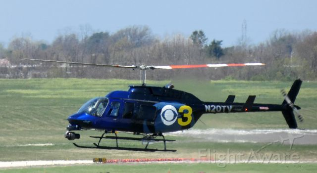 Bell JetRanger (N20TV) - About to touch down is this 1994 Bell JetRanger 206-L4 Rotorcraft in the Spring of 2021. This aircraft is used by the local CBS TV affiliate.