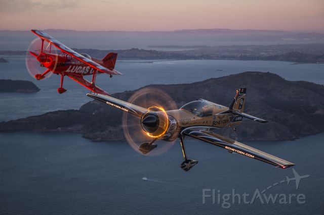 MXR MXS (C-FMYA) - Super Dave Matheson and Mike Wiskus over San Francisco Bay during the weekend of the Fleet Week Airshow