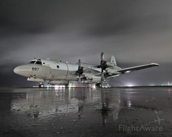 Lockheed P-3 Orion (15-9887) - EP-3 night shot in the south Pacific, this is the follow-on shot to my previous photo.  Clouds had moved in.  30 second exposure.  Canon 10-22mm.  Looks sharper on Flickr.  Photo was approved via Navy channels, full photo credit:  LT Scott Shea, USN (me).  For ATC identification purposes, this is a P3, hence why it pops up as such.