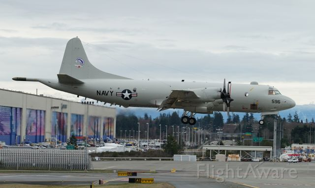 Lockheed P-3 Orion (16-1596) - A P-3C Orion, 161596, BMUP+ CN5771 (VP-40) Fighting Marlins at Paine Field on February 3rd.