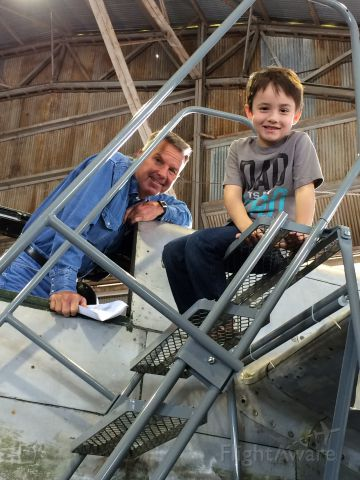 Douglas A-26 Invader (N4988N) - Tristan helping David on Special Kay N4988N  Fathers day 2014