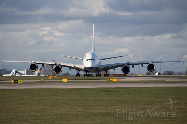 Airbus A380-800 (G-XLEC) - BAW9155 back to LHR after BAW12 from Singapore diverted to MAN due to bad weather at LHR