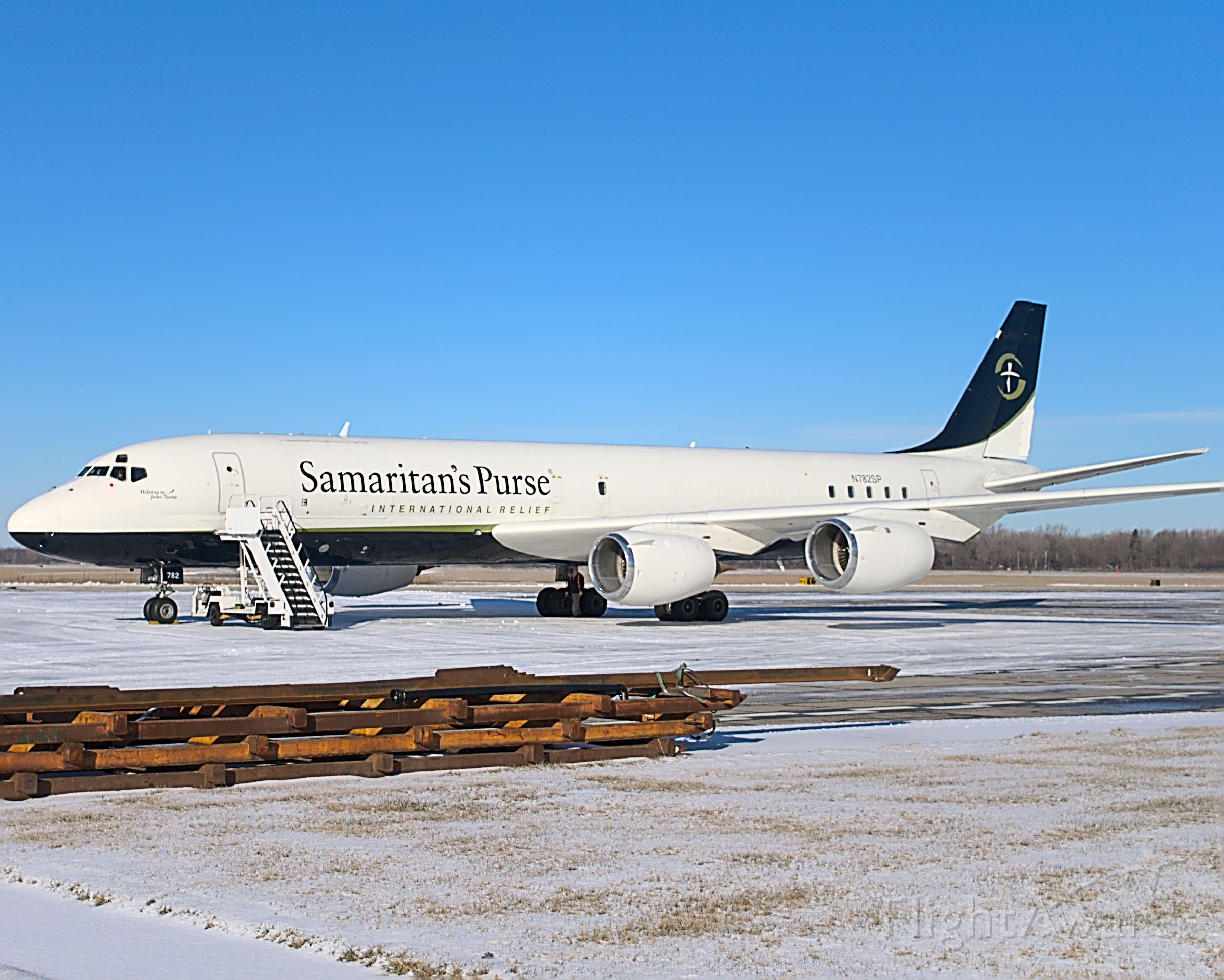 McDonnell Douglas DC-8-70 (N782SP) - N782SP. The beautiful Samaritans Purse DC-8-72F basking in the morning snow, after coming in from Greensboro. Picked up some papers from the FAA/FSDO building and did some Kai-Tak style approaches later in the afternoon for pilot certification.<br /><br />01/27/2021