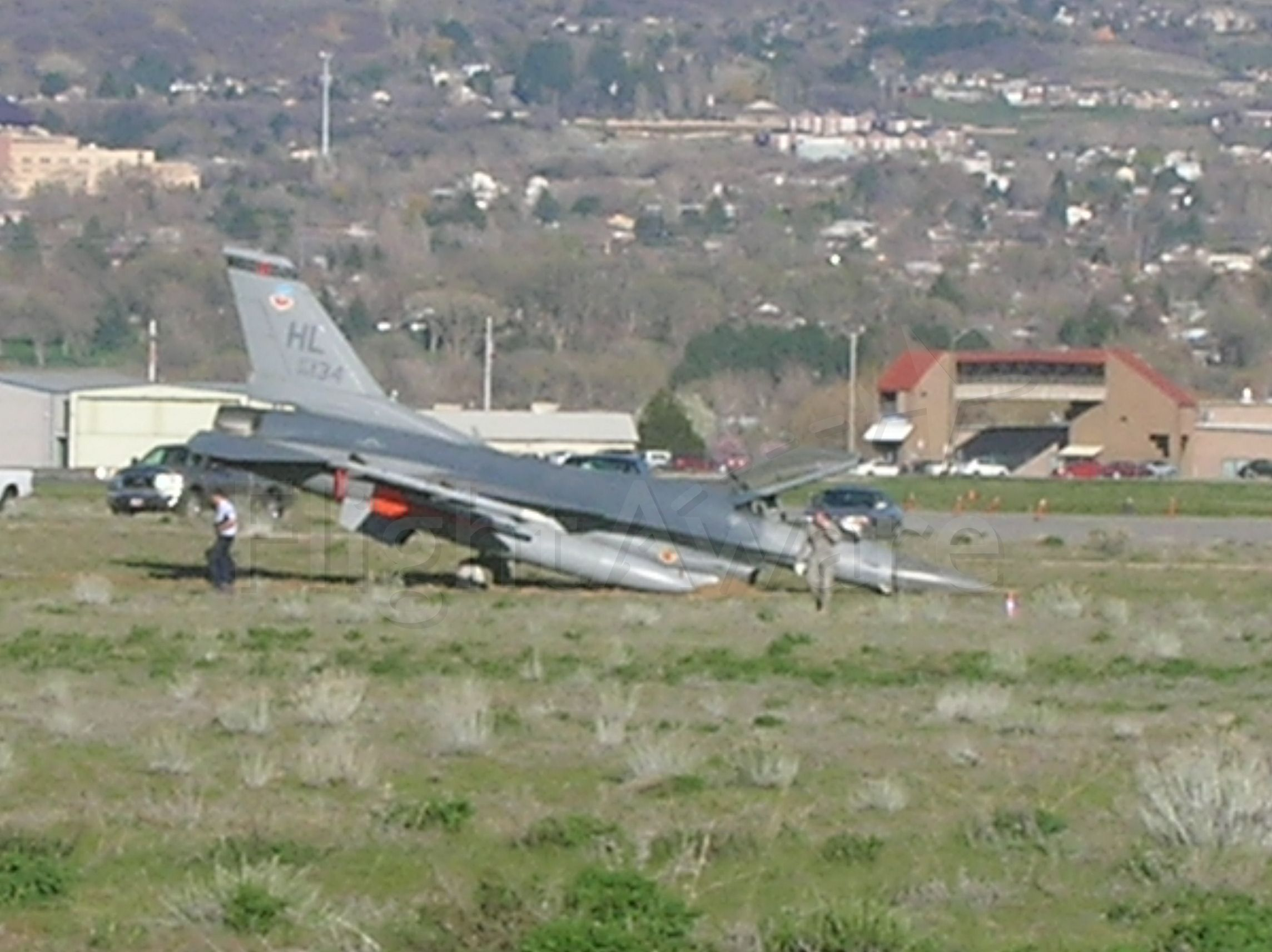 Lockheed F-16 Fighting Falcon (AWEF) - Tail Number: 89-134  Over ran RWY 21 on landing.  Bad day, lots of paperwork ahead!