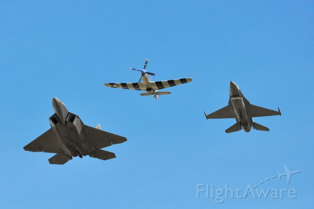 — — - Heritage Flight flyover at the Alliance Air Show