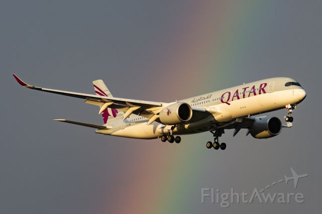 Airbus A350-900 (A7-AMK) - Qatar A350 A7-AMK on approach to Perth Airport between showers.