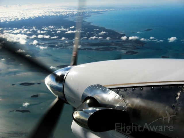 Douglas DC-3 (turbine) (N467KS) - The beautiful waters of the Bahamas as seen from our DC-3.