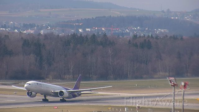 BOEING 777-300 (HS-TKM) - Departing out of Zurich to head back to Bangkok