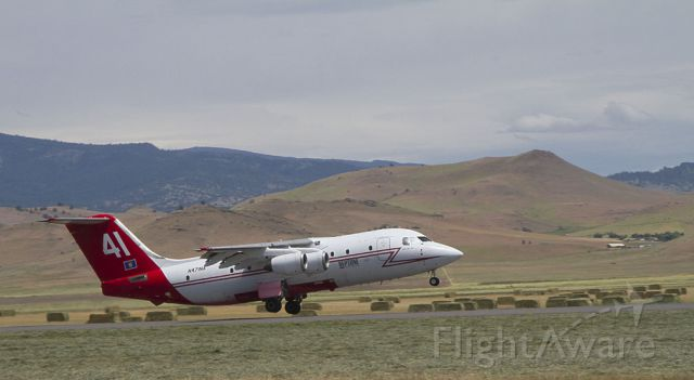 British Aerospace BAe-146-200 (N471NA) - Off the ground on its way to the Pony Fire.