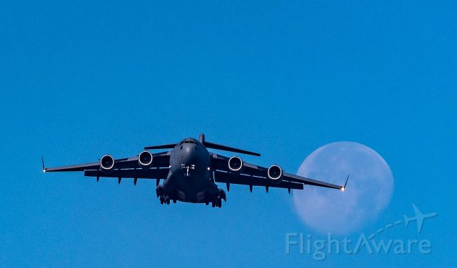 — — - The  Boeing C-17 Globemaster on a slow fly by during the Bangalore Aero India show. Aero India is a biennial air show and aviation exhibition held in Bengaluru, India at the Yelahanka Air Force Station. It is organised by the Defence Exhibition Organisation. [https://en.wikipedia.org/wiki/Aero_India]