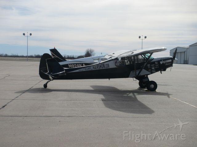 Piper L-21 Super Cub (N6777B) - N6777B,a 1956 Piper PA18A Super Cub parked in Joplin on 18 JAN 2015.