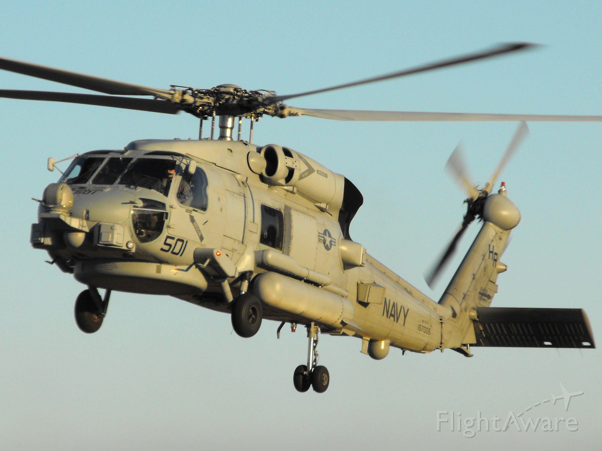 Sikorsky S-70 (16-7005) - US Navy MH-60 Seahawk landing at dusk
