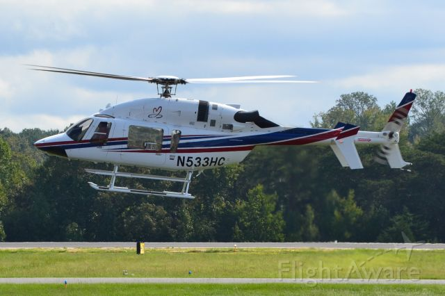 Bell 427 (N533HC) - JOE GIBBS RACING INC arriving at KJQF - 9/30/18  RE-REGISTERED as N595JG