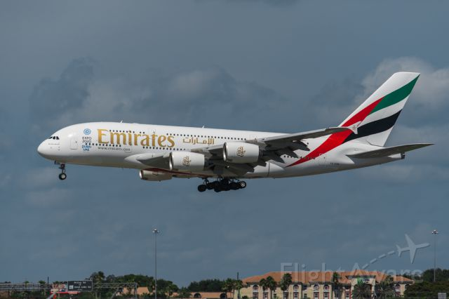 Airbus A380-800 (A6-EOM) - UAE 219 Super on short final to runway 18R at KMCO christening Emirates