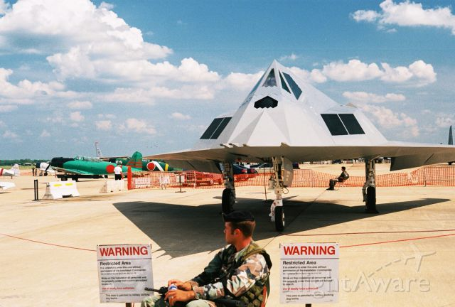 Lockheed Nighthawk (7910783) - Look... but DO NOT Touch!<br /><br />Lockheed F-117A Nighthawk, USAF s/n 79-10783, at the Barksdale AFB airshow in 2005. This is the FSD-4 aircraft flown by the 410th Flight Test Squadron, eventually at Edwards AFB.