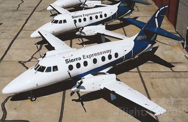 — — - Sierra Expressway Airlines Jetstream 3200 fleet parked at Oakland North Field ramp August 1995