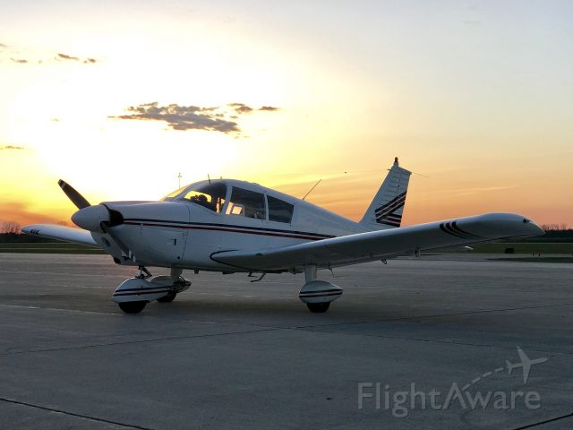 Piper Cherokee (N16EC) - Just before departing Into the setting sun