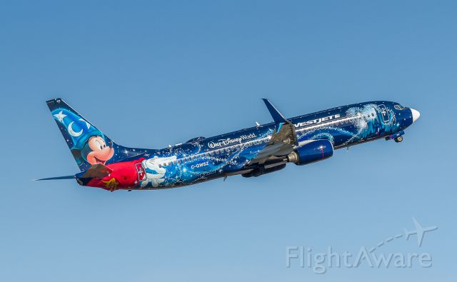 Boeing 737-800 (C-GWSZ) - Not sure what happened, but Westjet Disney jet now sporting a white beak.