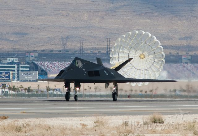 Lockheed Nighthawk — - F-117 landing at Nellis AFB, 2007.