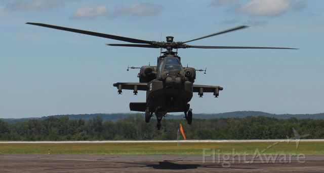 Boeing Longbow Apache (ARMY43019) - A Boeing AH-64E Apache hovering over the ramp at Northeast Alabama Regional Airport, Gadsden, AL - August 13, 2019.