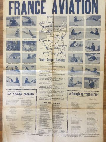 — — - Poster of the first European Rally, June-July 1911 (private collection) - these pioneers opened the skies to  the first regular commercial lines London (Kenley)-Paris (Toussus-le-Noble), Paris-Brussels in 1919, and the rest is commercial aviation history.