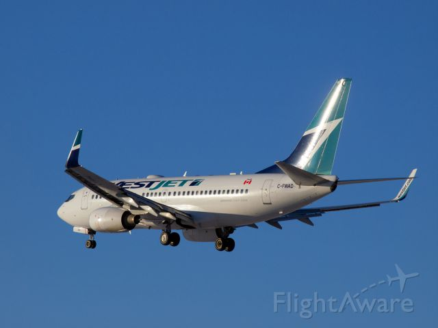 Boeing 737-700 (C-FWAD) - Morning coffee and aircraft spotting.