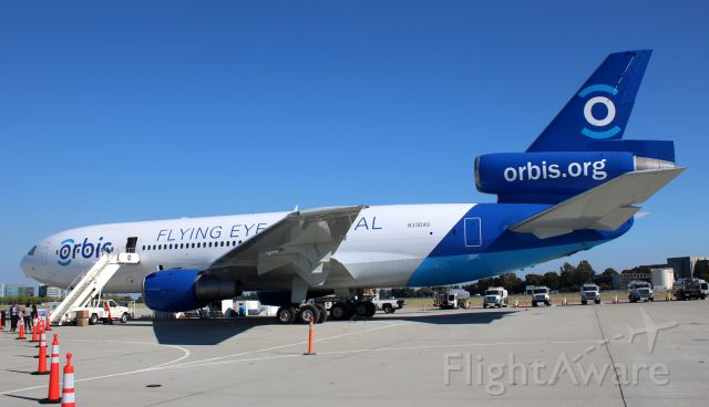 McDonnell Douglas DC-10 (N330AU) - Orbis.org Flying Eye Hospital, Readying aircraft for trip to Asia.