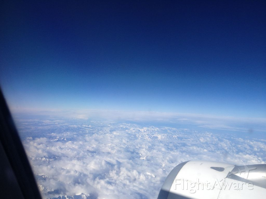— — - Flying from Lyon Airport to Madrid-Barajas Airport (Crossing over the Pyrenees)